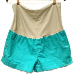 Celebrity Pink Maternity Shorts Turquoise Cuffed